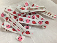 Grosgrain Lined Clips- Patterned (10)