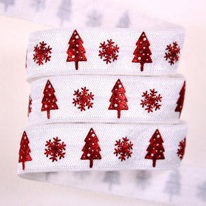 "Red Foil Christmas on White 5/8"" FOE"