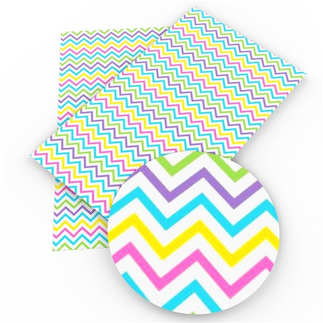 Chevron Rainbow Faux Leather Sheet