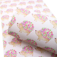 Floral Hedgehog Faux Leather Sheet