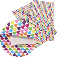 Rainbow Hearts Faux Leather Sheet