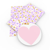 Hearts Purple Pink & Gold Faux Leather Sheet