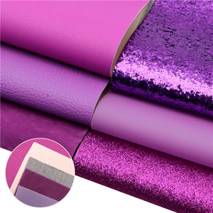 Purple Mixed Faux Leather Full Sheet Pack of 7