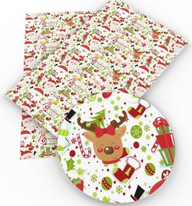 Santa & Reindeer at the North Pole Faux Leather Sheet