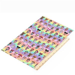 LOL Dolls on Rainbows Faux Leather Sheet