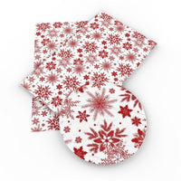 Christmas Snowflakes Red on White Faux Leather Sheet