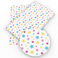 Stars on White Faux Leather Sheet