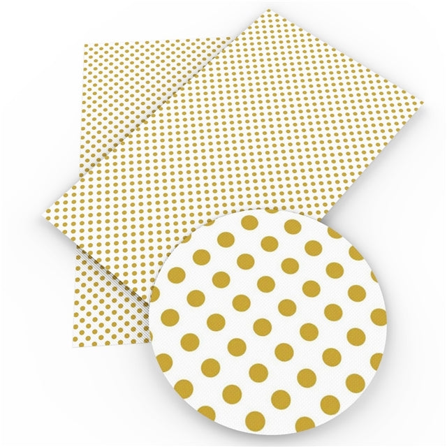 Spots Gold on White Faux Leather Sheet