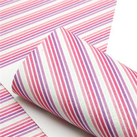Stripes Pink & Purple with Glitter Faux Leather Sheet