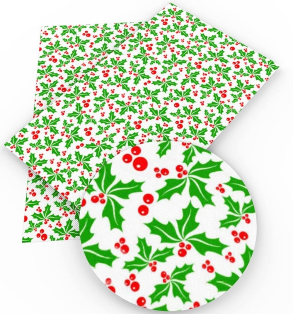 Christmas Holly Emerald Faux Leather Sheet