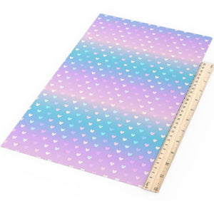 Ombre Pink Blue with Hearts Faux Leather Sheet