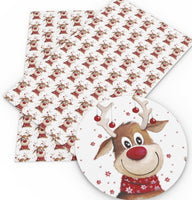 Christmas Rudolph the Red Nose Reindeer Faux Leather Sheet
