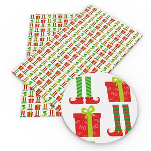 Christmas Elves Legs & Presents Faux Leather Sheet