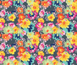 Floral Bright Flowers on Grey Faux Leather Sheet