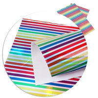 Rainbow Stripe Laser Faux Leather Sheet