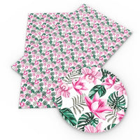 Floral Tropical Flowers Faux Leather Sheet