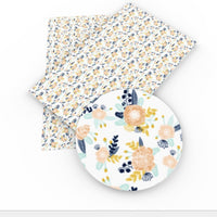 Floral Peach & Blues on White Faux Leather Sheet