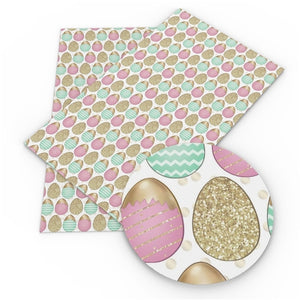 Easter Eggs Pink, Mint & Gold on White Faux Leather Sheet