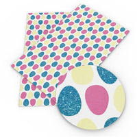 Easter Eggs Pink, Yellow & Blue Glitter on White Faux Leather Sheet