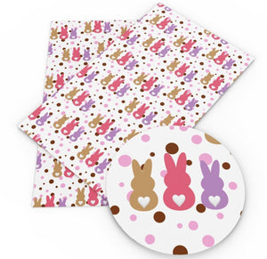 Easter Bunny Trio on Spots Faux Leather Sheet