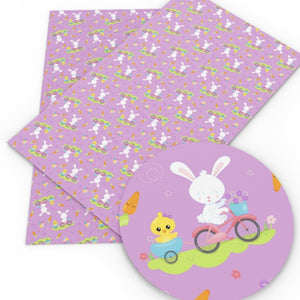 Easter Bunny on Bike Purple Faux Leather Sheet