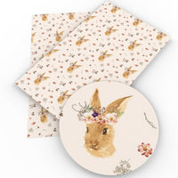 Easter Bunny Floral Crown Faux Leather Sheet