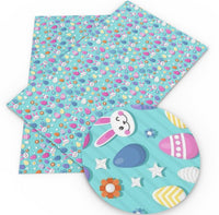 Easter Bunny & Eggs on Blue Faux Leather Sheet