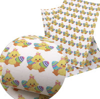 Easter Chick & Eggs Faux Leather Sheet