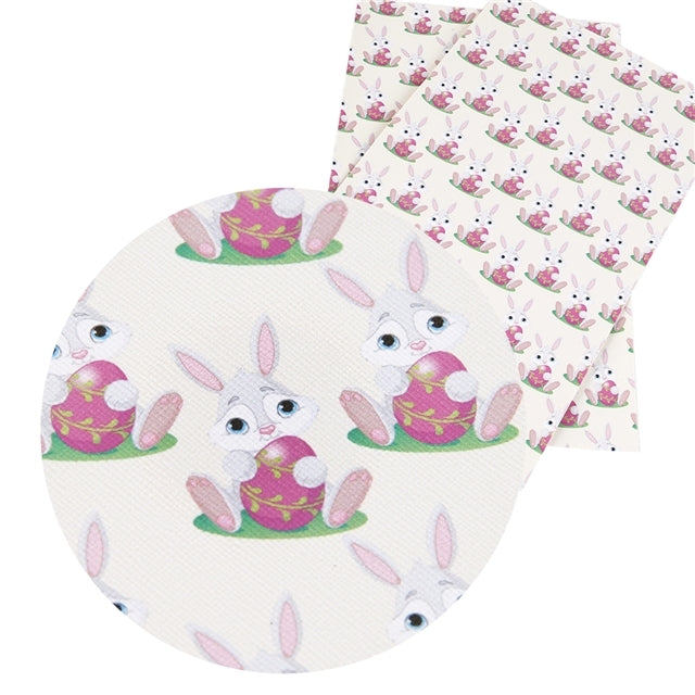 Easter Bunny with Easter Egg Faux Leather Sheet