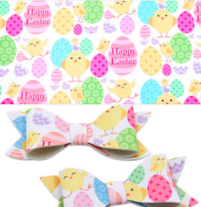 Easter Eggs/Chicks Happy Easter Faux Leather Sheet