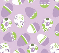 Easter Eggs Purple Green White on Purple Faux Leather Sheet