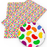 Jellybeans on White Faux Leather Sheet