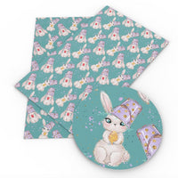 Easter Bunny & Bucket on Teal Faux Leather Sheet