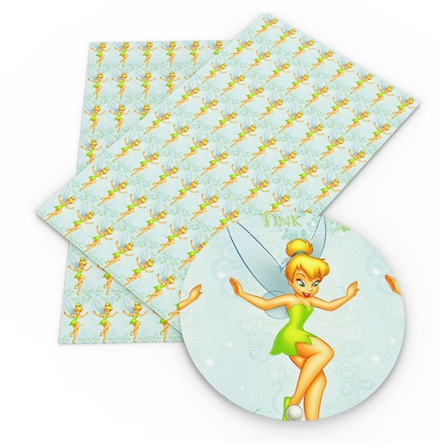 Tink Fairy on Blue Faux Leather Sheet