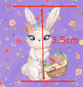 Easter Bunnies & Bucket on Purple Faux Leather Sheet