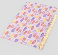 Ice Creams on Purple Faux Leather Sheet