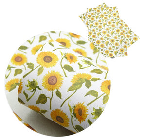 Floral Sunflowers with Stem Faux Leather Sheet