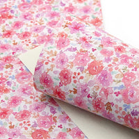 Floral Watercolour Pink Faux Leather Sheet