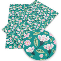 Floral Pink on Teal Faux Leather Sheet