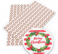 Merry Christmas Wreath Faux Leather Sheet