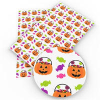 Halloween Pumpkins Faux Leather Sheet