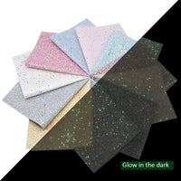 Glow in the Dark Chunky Glitter Faux Leather Sheet