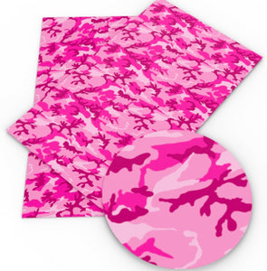 Camo Pink Faux Leather Sheet