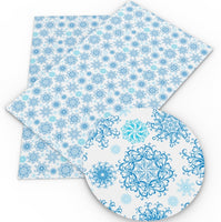 Snowflakes Blue on White Faux Leather Sheet