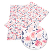 Floral Pink & Navy Watercolour Faux Leather Sheet