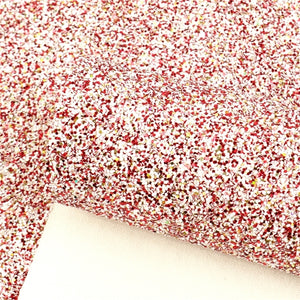 Chunky Gold, Red & White Glitter Faux Leather Sheet