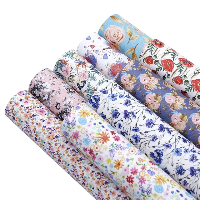 Floral Mixed #1 Faux Leather Full Sheet Pack of 9