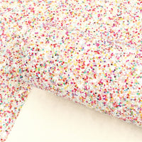Chunky Sprinkles Rainbow on White Glitter Faux Leather Sheet