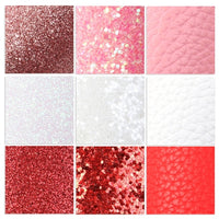 """Strawberries & Cream"" Mixed Faux Leather Full Sheet Pack of 9"