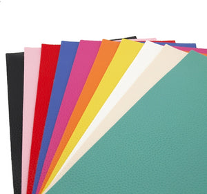 Solid Litchi Mixed Faux Leather Full Sheet Pack of 10